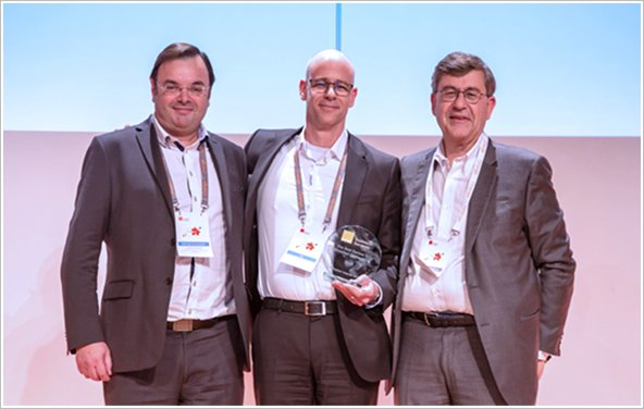 Pierre Louis Biaggi, VP Network Domain, OBS (right), Dror Bin, President and CEO, RAD (center) and Ludovic Francisco, General Manager, RAD France (left).